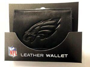 Philadelphia Eagles Distressed Look Embossed Logo Black Leather Trifold Wallet