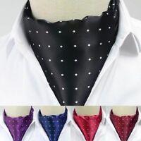 Hot Men's Silk Cravat  Ascot Ties Polka Dots Jacquard Woven Necktie Cravat Ties
