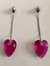 Swarovski Fuschia Heart Dangling Earrings Signed - BEAUTIFUL! - New in Box
