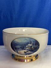Thomas Kinkaide Sunday Evening Sleigh Ride Christmas Bowl Planter Vase Handpaint
