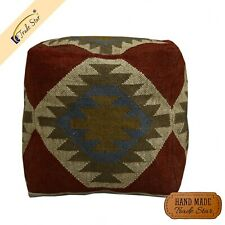 """Vintage Jute Wool Footstool Cover Hand Woven Kilim Pouffe Case 18"""" Ottoman Cover"""