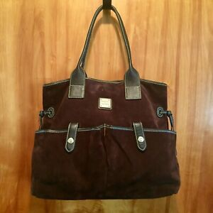 Dooney Bourke Large Suede Handbag Purse Satchel Tote Brown w/ Dust Cover Bag