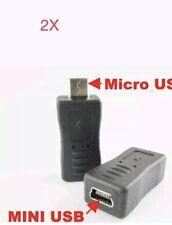 2X USB 2.0 Mini-A 5-Pin Female to Micro-B Male Adapter Data Converter