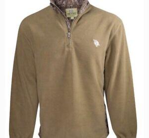 Heybo 1/4 Zip Fleece Pullover XXXL Olive Green Bottomland Camo
