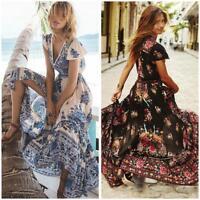 Womens Bohemian Long Maxi Dress Boho Party Cocktail Summer Beach Floral Sundress