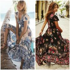 Women Bohemian Beach Boho Floral Cocktail Party V-Neck Maxi Long Dress Sundress