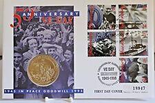 Mercury 1995 ~ ve día liberación de Guernesey ~ £ 2 moneda y primer día cubierta