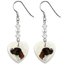 Boxer Dog 925 Sterling Silver Heart Mother Of Pearl Dangle Earrings EP30