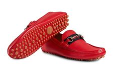 "Gucci ""Damo"" Pebbled Leather Horsebit Driver Moccasins SHOES 322741 US 9 M"