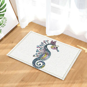 "Seahorse with Marine Animal Bathroom Rug Non-Slip Floor Door Mat Flannel 16x24"""