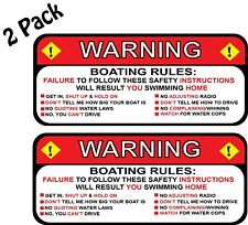 "Pair (2) Boating Rules Warning Fishing Skiing Decal Sticker Funny 2.5"" x 5.25"""