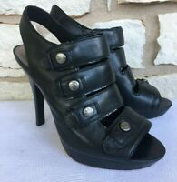 COACH SANDRA CALF BLACK LEATHER OPEN TOE STRAPPY HEELS Size 9