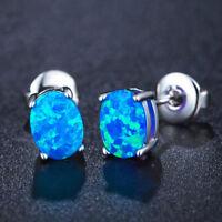 Wedding Gift 4*6 MM Rainbow Blue Fire Opal Gems Solid Silver Stud Hook Earrings