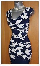 Phase Eight Navy White Kimono Bird Stretch Pencil Tailored Dress UK10 EU38 £99