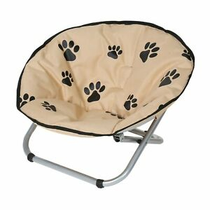 Folding Pet Cot Chair - Elevated Cat Bed, Paw Print Papasan Chair for Small Dogs
