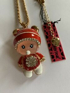 Betsey Johnson PACIFIER Baby in Red Crystal Outfit Necklace-BJ50540