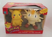 Pokemon Action Figure #25 Pikachu & #52 Meowth By Hasbro in 1999 - RARE BOXED