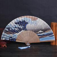 Silk Hand Fan Mount Fuji Kanagawa Waves Japanese Folding Fan Pocket Fan Gift N_N
