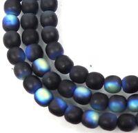 100 Czech Glass Round Beads - Matte/AB Black / Jet 4mm moonstone