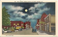 Main Street Looking South at Night in Sumter SC Postcard