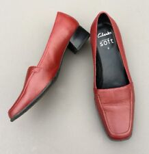 Clarks Ladies Shoes 6 Red Leather Low Heel Slip On Office Work Smart Casual 39.5