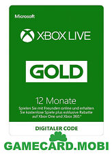 XBOX Live 12 Monate - XBOX 360 ONE Mitgliedschaft GOLD Membership 12 Month Card