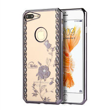 iPhone 7+ / 8+ Plus - GRAY CHROME Bling Roses TPU Rubber Gummy Case Cover