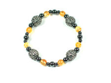 Handmade Citrine and Celtic design pewter Spheres bracelet. Wealth Success