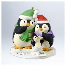 Baby Makes Three 2012 Hallmark Ornament  Penguins Family Mom Dad Snow Christmas
