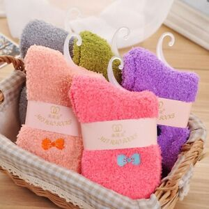 Womens Girls Candy Color Embroidery Fuzzy Socks Cozy Comfort Sleeping Bed Socks