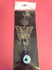 Turkish Greek Blue Big Glass Evil Eye Metal Butterfly Hanging Lucky Decoration