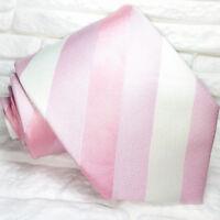 Pink & White Striped necktie silk Made in Italy Morgana brand wedding / business