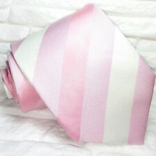 Pink & White Striped necktie silk Made in Italy Morgana brand wedding / business