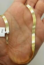 "14k Solid Yellow Gold High Polish Herringbone Necklace Chain 16"" 5.0mm"