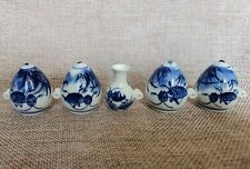 New listing 1set 5pcs Asian Bamboo Bird Cage blue and white porcelain cricket cups1