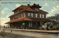 Green Bay & Western RR Train Station Depot c1910 Postcard