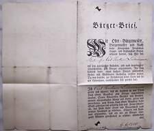 Berlin 1830 Bürgerbrief für den Korbmacher Carl Joachim Lüdemann Urkunde Reprint