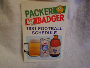 1981 GREEN BAY PACKERS,WISCONSIN BADGERS FOOTBALL SCHEDULE,Old Style Beer,nfl