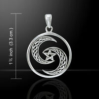 Unique Pentagram Crescent Celtic Moon .925 Sterling Silver Pendant Peter Stone