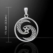 Unique Pentagram Crescent Celtic Moon .925 Sterling Silver Pendant Peter Stone