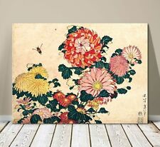 "Beautiful Japanese Floral Art ~ CANVAS PRINT 36x24"" ~Hokusai Chrysanthemums"