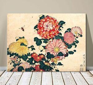 "Beautiful Japanese Floral Art ~ CANVAS PRINT 36x24"" ~Hokusai Chrysanthemums"