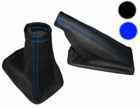 Soufflet levier de vitesse et frein en CUIR véritable c. bleue pour Opel Corsa C