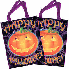 2 Happy Halloween Party Smiling Pumpkin Giant Loot Favour Trick Or Treat Bags