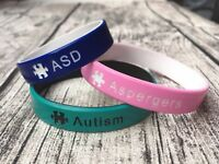 Autism ASD Aspergers Wristband Medical Alert ID Silicone Temporary Band Autistic