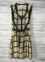 Esley Women's Tan / Black Plaid Sleeveless Tie Front Lined Dress Size Small