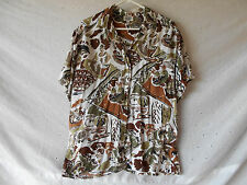 Leslie FayCasual Brown / Tan Button Down Short Sleeve Top 100% Cotton Size 14