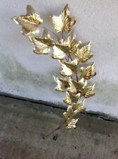 Vintage Mid Century Brass Metal Gold Tone Leaf Leaves Wall Hanging Decor *WoW*