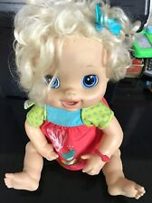 2010 Baby Alive Blonde Hair Blue Eye Interactive Doll Eats Drinks Pees And Poops