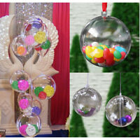 12pcs Ball Christmas Baubles Clear Fillable Xmas Tree Decoration Ornaments